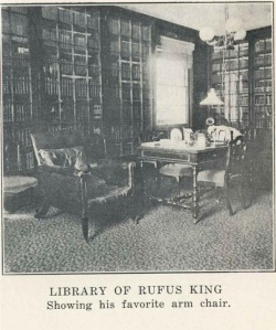 From Edward Hale Brush's _Rufus King and His Times_ (1926).  This might be from the 1860s when King's son John Alsop King lived in the house with the books.  It is unclear if this was really King's favorite arm chair.