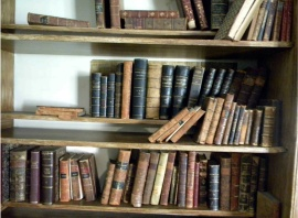Author photo of library at King Manor Museum.  These books are only there for show.  RK's books are at the New-York Historical Society.