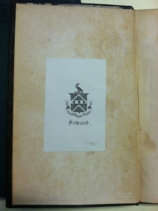 Seward bookplate in front pastedown of his copy of _The Works of Edmund Burke_, Vol. 1 (Boston, 1839).