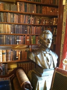 One wall of Seward's library in Auburn, NY.  The bust is a paper mache model used for the metal bust at his birth place in Florida, NY.