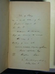 Front flyeaf of Seward's copy of John G. Palfrey's _History of New England_ (Boston, 1859).