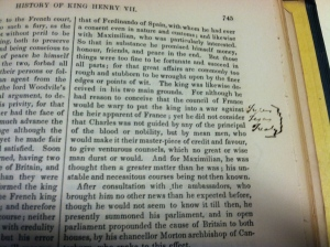 Page 745 of Seward's copy of _The Works of Francis Bacon_, Vol. 1 (London, 1841).